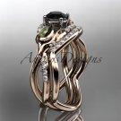 14kt rose gold diamond engagement set with a Black Diamond center stone ADLR226