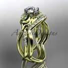 14kt yellow gold diamond tulip flower, wedding set, leaf and vine engagement set ADLR226