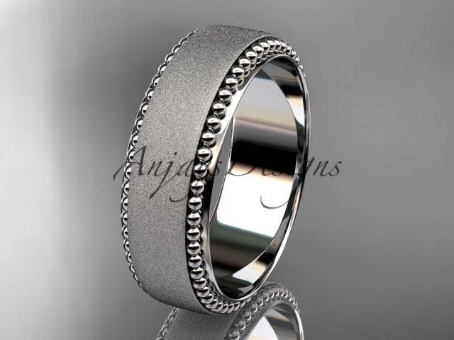 Platinum  matte finish classic wedding band, engagement ring ADLR380G