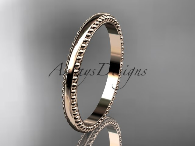 14kt rose gold classic wedding band, engagement ring ADLR384G