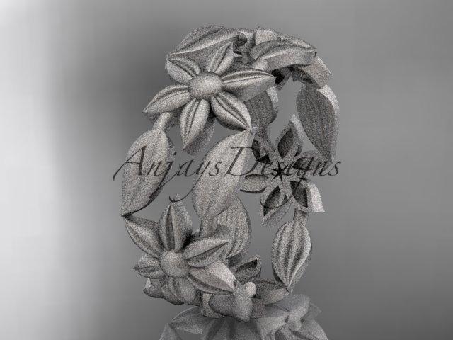 Platinum leaf and vine, flower wedding ring, engagement ring, wedding band ADLR344G