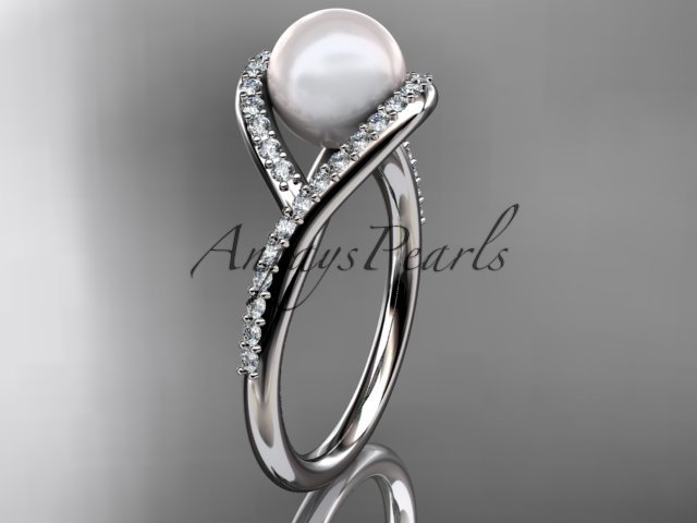 14kt white gold diamond pearl unique engagement ring, wedding ring AP383