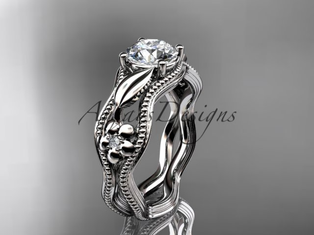 14k white gold leaf and flower diamond unique engagement ring ADLR382