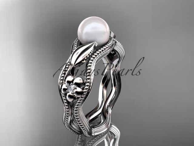 14kt white gold diamond pearl flower, leaf and vine engagement ring AP382