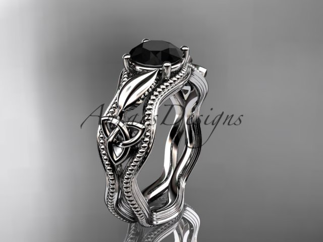 14kt white gold diamond celtic trinity knot engagement ring with a Black Diamond center stone CT7382