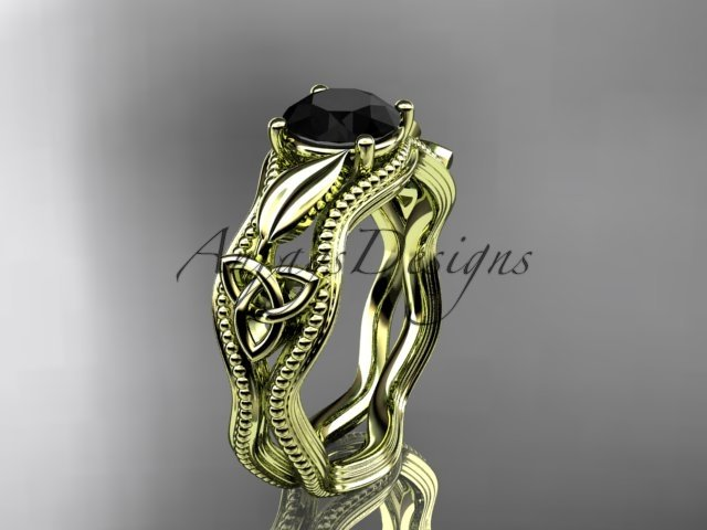 14k yellow gold diamond celtic trinity knot engagement ring with a Black Diamond center stone CT7382