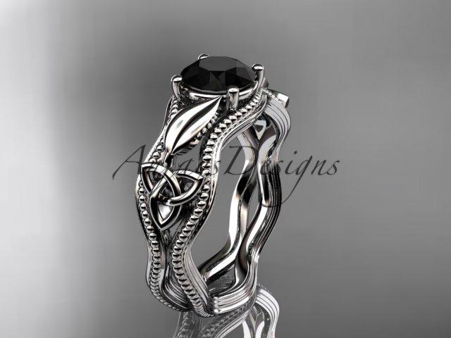 Platinum  diamond celtic trinity knot engagement ring with a Black Diamond center stone CT7382