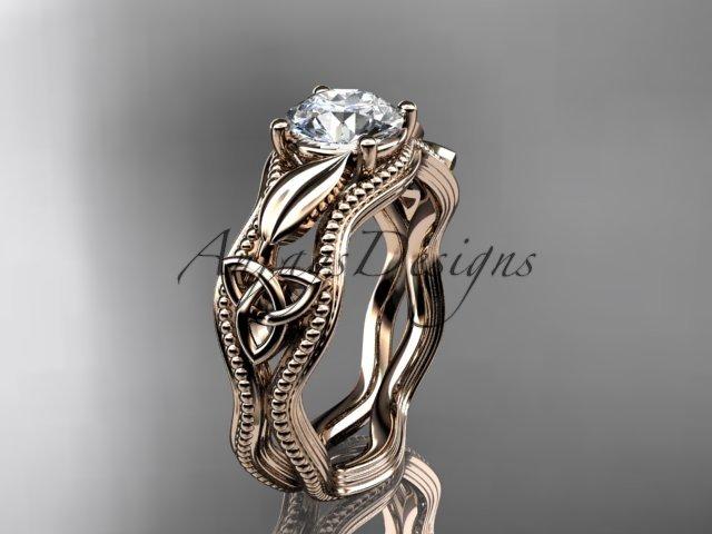 14kt rose gold diamond celtic trinity knot wedding ring, engagement ring CT7382