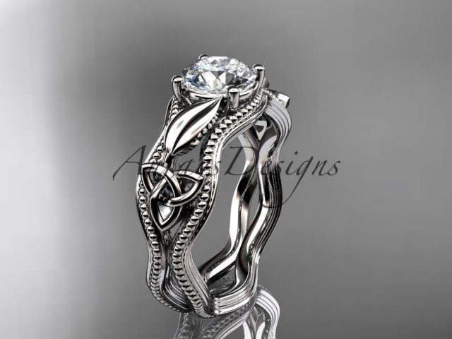 14kt white gold diamond celtic trinity knot engagement ring with a  Moissanite center stone CT7382