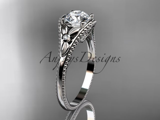 14k white gold leaf and flower diamond unique engagement ring ADLR377