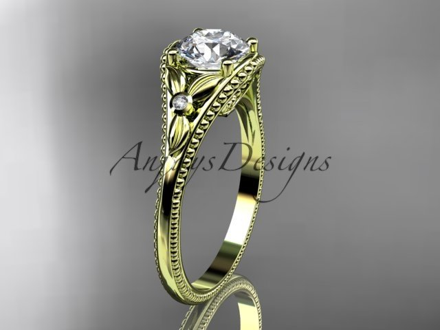 14k yellow gold leaf and flower diamond unique engagement ring ADLR377