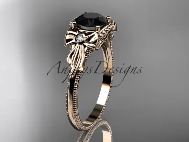 14k rose gold leaf and flower diamond engagement ring with a Black Diamonde center stone ADLR376