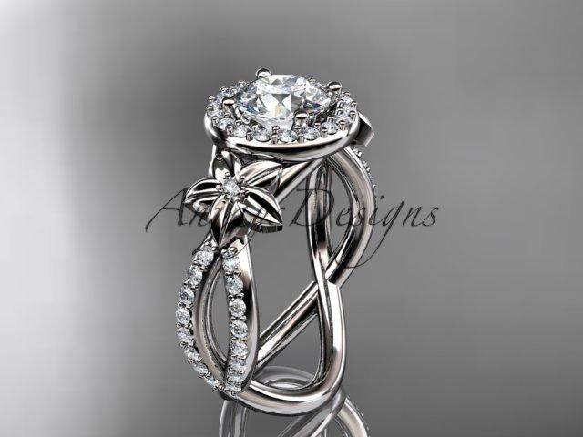 Platinum  leaf and flower diamond unique engagement ring, wedding ring ADLR374