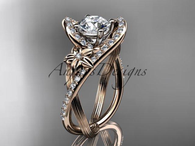 14k rose gold leaf and flower diamond unique engagement ring, wedding ring ADLR369