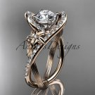 14k rose gold leaf and flower diamond engagement ring with a Moissanite center stone ADLR369