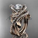 14k rose gold leaf and flower diamond engagement set, Moissanite center stone ADLR369S
