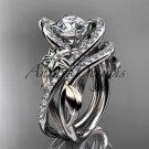 Platinum  leaf and flower diamond engagement set, Moissanite center stone ADLR369S
