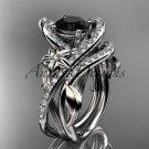 Platinum leaf and flower diamond engagement set with a Black Diamonde center stone ADLR369S