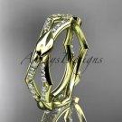 14k yellow gold diamond leaf and vine wedding band,engagement ring ADLR353B