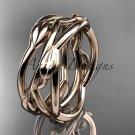 14kt rose gold leaf and vine wedding ring,wedding band ADLR350G