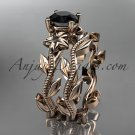14k rose gold diamond floral wedding ring, engagement set with a Black Diamond center stone ADLR238