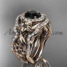 14kt rose gold diamond unique engagement set, wedding set with a Black Diamond center stone ADLR300