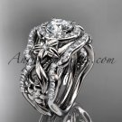 14kt white gold diamond unique engagement set Moissanite center stone ADLR300