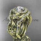 14kt yellow gold diamond unique engagement set, wedding set ADLR300