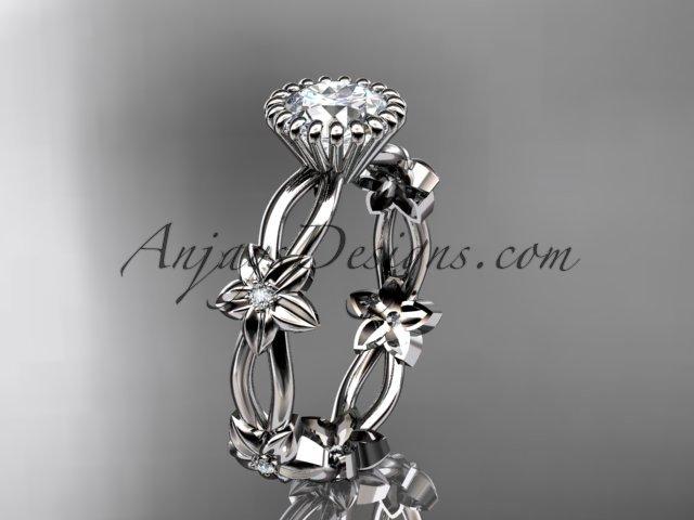 14k white gold diamond  engagement ring with a Forever One Moissanite  center stone ADLR19D