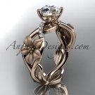 14kt rose gold diamond floral leaf and vine wedding ring, engagement ring ADLR270