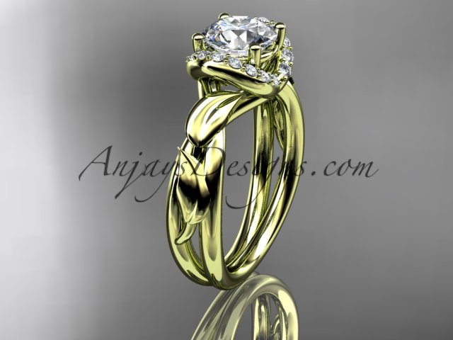 14kt yellow gold diamond engagement ring with aForever One Moissanite  center stone ADLR289