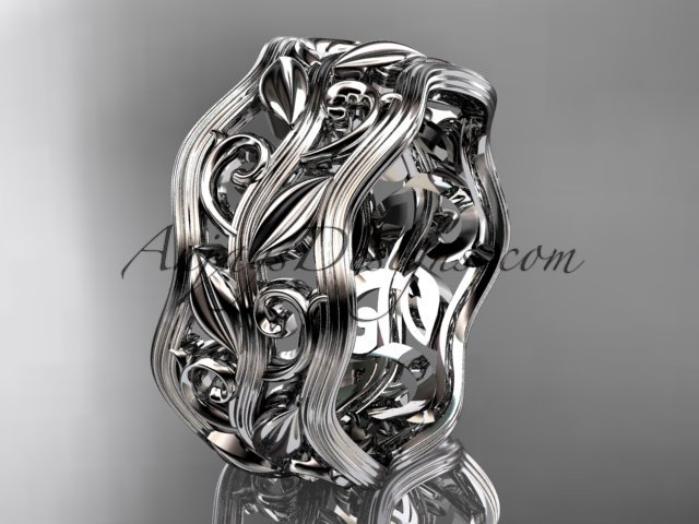 14kt white gold leaf and vine wedding ring, engagement ring, wedding band ADLR263
