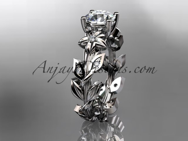 14k white gold diamond floral leaf and vine wedding ring, engagement ring ADLR215