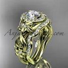 14kt yellow gold diamond unique engagement set, wedding set with Moissanite center stone ADLR300