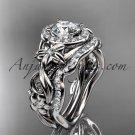 Platinum diamond unique engagement set, wedding set with  Moissanite center stone ADLR300