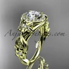 14kt yellow gold diamond engagement ring with a Forever One Moissanite center stone ADLR300