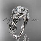Platinum diamond unique engagement ring, wedding ring with Moissanite center stone ADLR300