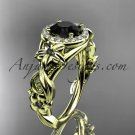 14kt yellow gold diamond unique engagement ring with a Black Diamond center stone ADLR300
