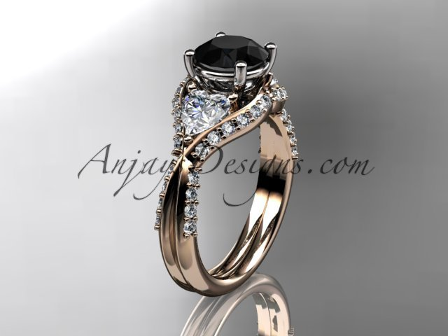14kt rose gold diamond wedding ring, engagement ring with a Black Diamond center stone ADLR319