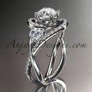 Unique platinum diamond engagement ring, wedding band ADLR320
