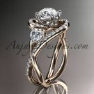 Unique 14kt rose gold diamond engagement ring, wedding band ADLR320