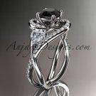 Unique platinum diamond engagement ring, wedding band with a Black Diamond center stone ADLR320
