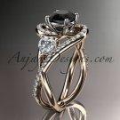 Unique 14kt rose gold moissanite engagement ring, black diamond stone ADLR320