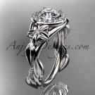 Platinum diamond unique engagement ring with moissanite cente stone ADLR327