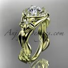 14kt yellow gold unique engagement ring with moissanite center sotne ADLR327