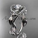 Platinum diamond unique engagement ring with moissante center stone ADLR326