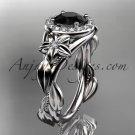 Platinum diamond unique engagement ring, wedding ring with a Black Diamond center stone ADLR326