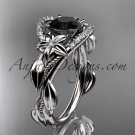 4kt white gold diamond unique engagement ring,wedding ring with black diamond center stone ADLR326