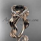 14kt rose gold diamond unique engagement ring,wedding ring with black diamond center stone ADLR326