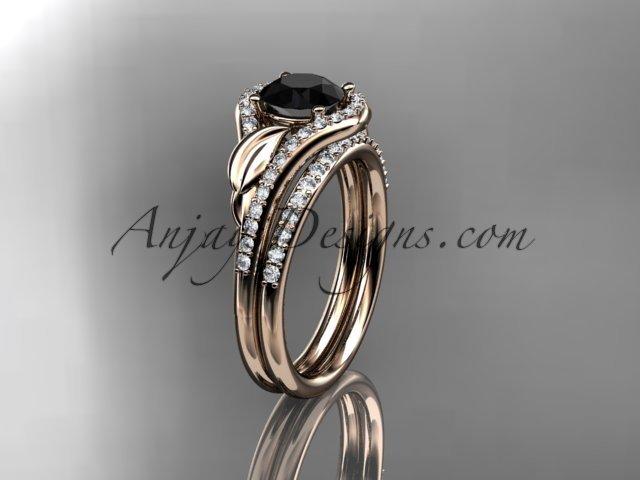 14kt rose gold diamond engagement set with black diamond center stone ADLR334